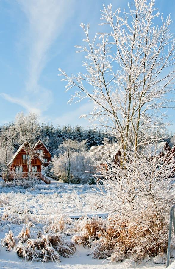 Un villaggio di inverno immagini stock libere da diritti