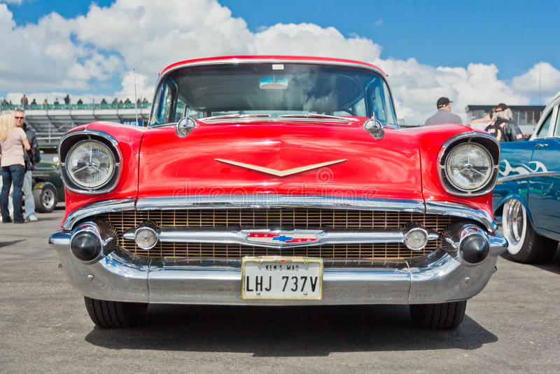 Un vintage rouge Chevrolet Bel Air photographie stock