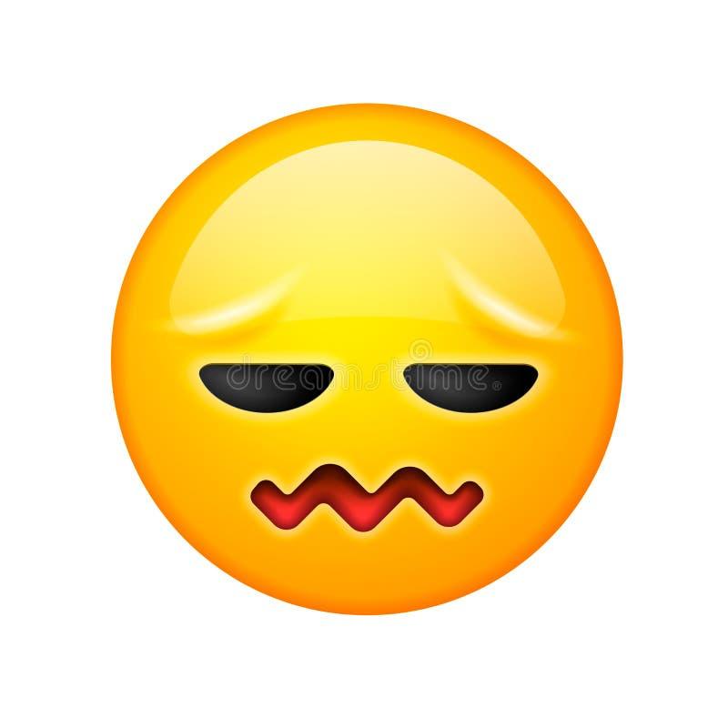 Un visage souriant avec des expressions frustrantes, conception confondue d'icône d'emoji, dirigent l'illustration illustration stock