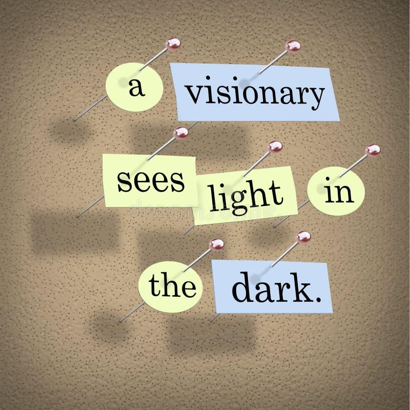 Un visionario vede l'indicatore luminoso nello scuro illustrazione vettoriale