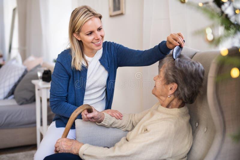 Un visitante de la salud que peina el pelo de la mujer mayor en casa en el tiempo de la Navidad imagenes de archivo