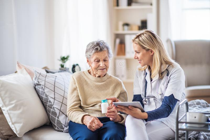 Un visiteur de santé avec le comprimé expliquant une femme supérieure dans la façon prendre des pilules photos stock