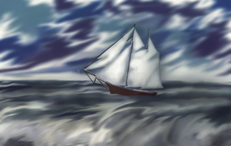 Un voilier dans la perspective du ciel de tempête illustration de vecteur