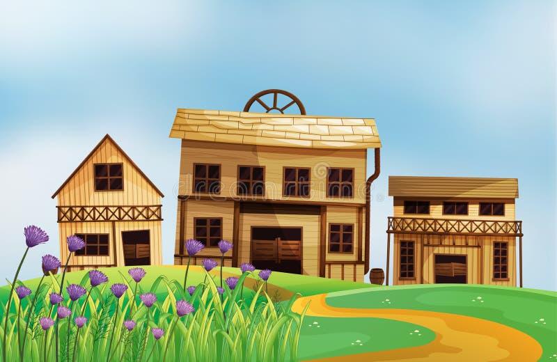 Un voisinage en haut des collines illustration stock