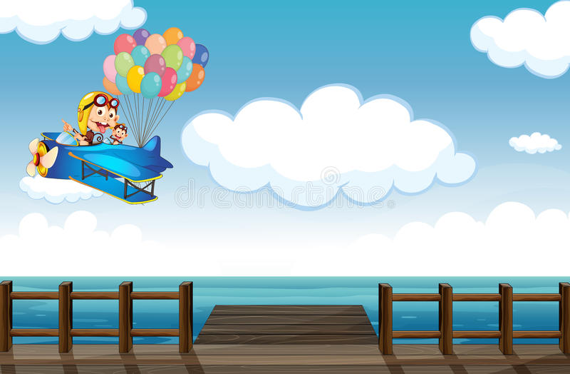 Un vol vantard de singe sur un avion illustration stock