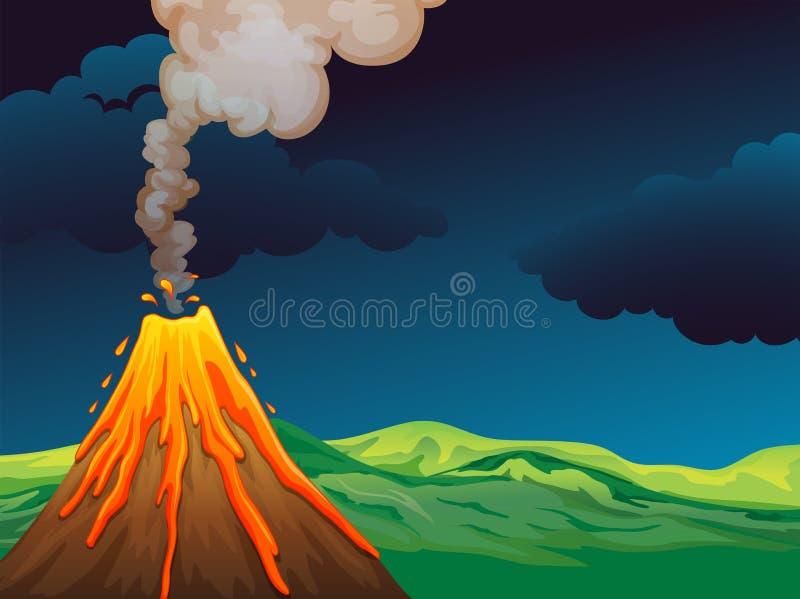Un volcán stock de ilustración