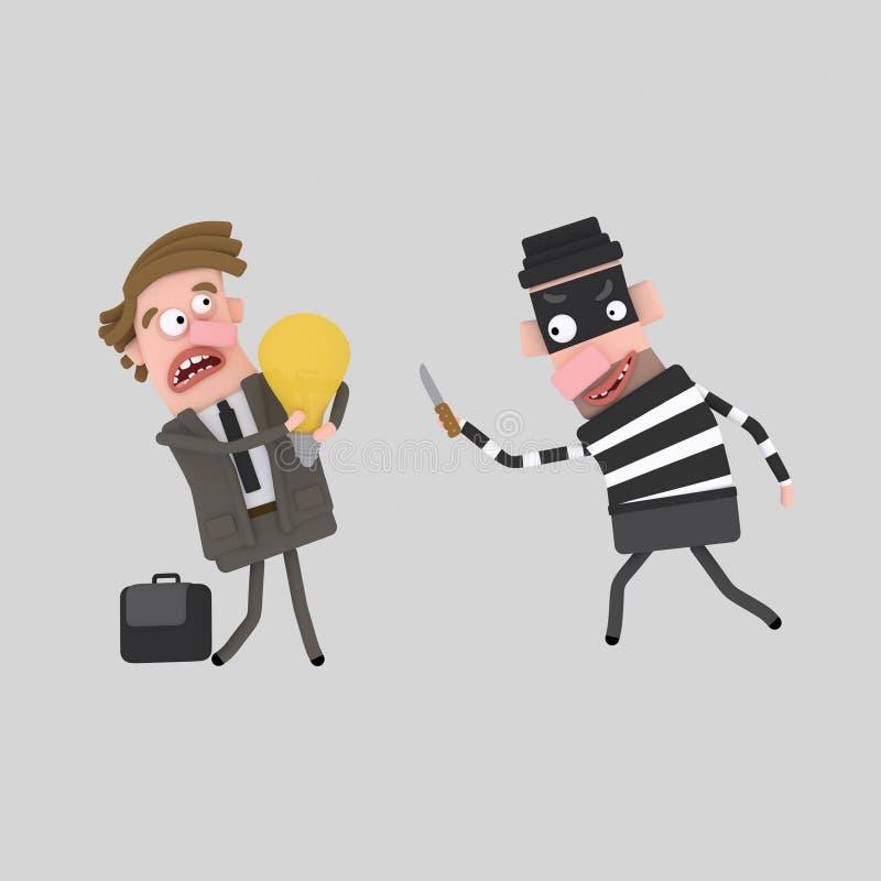 Un voleur volant idée de l'homme d'un d'affaires la bonne 3d illustration de vecteur