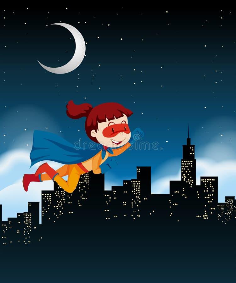 Un volo dell'eroe eccellente della ragazza sul cielo illustrazione vettoriale