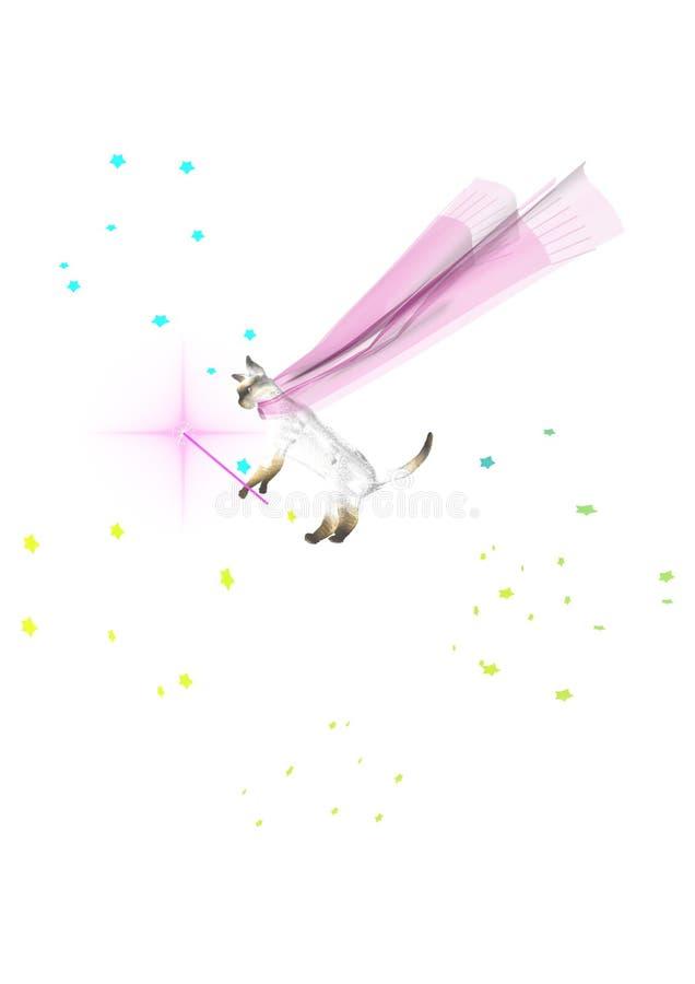 Un volo leggiadramente bianco sveglio del gatto nel cielo illustrazione vettoriale