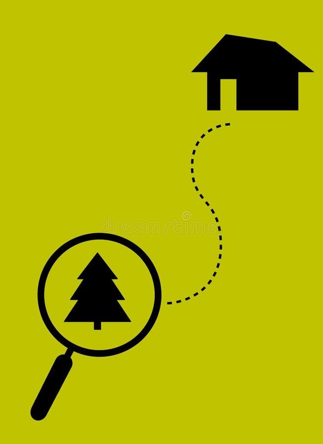 Un voyage à la maison Loupe avec l'arbre de Noël et la ligne pointillée Conception plate illustration stock