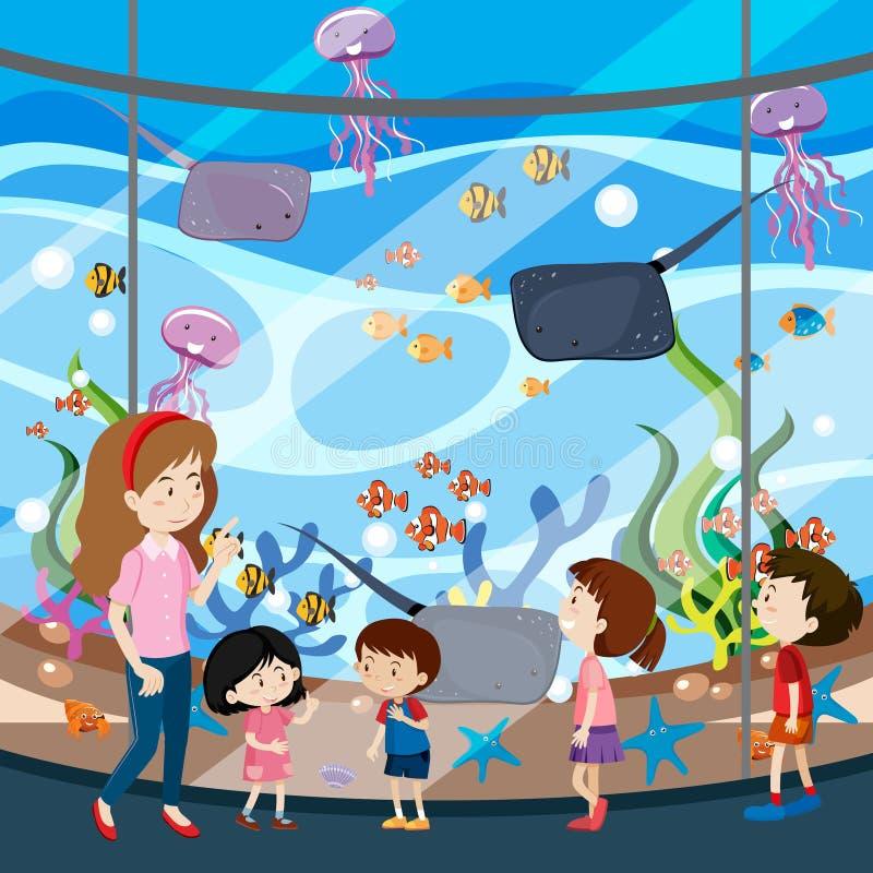 Un voyage d'école dans l'aquarium illustration de vecteur