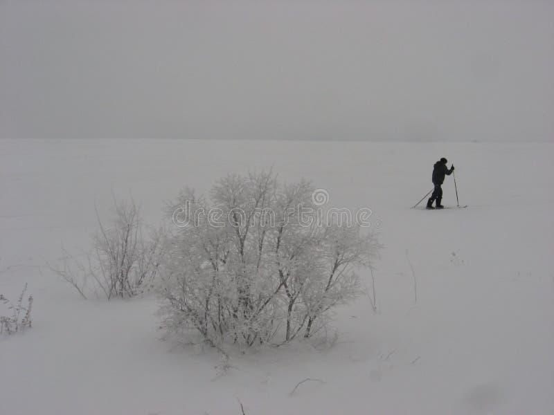 Un voyageur solitaire se promène sur un terrain enneigé image libre de droits