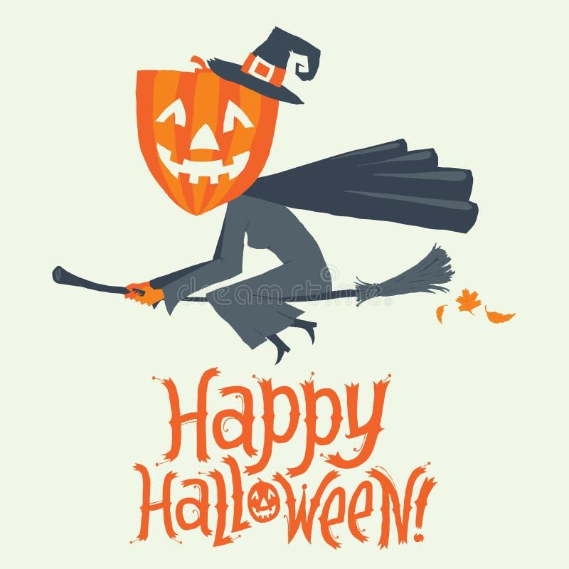 Un vuelo de la bruja en un palo de escoba Invitación de la postal, del cartel, del fondo o del partido del feliz Halloween Ilustr libre illustration