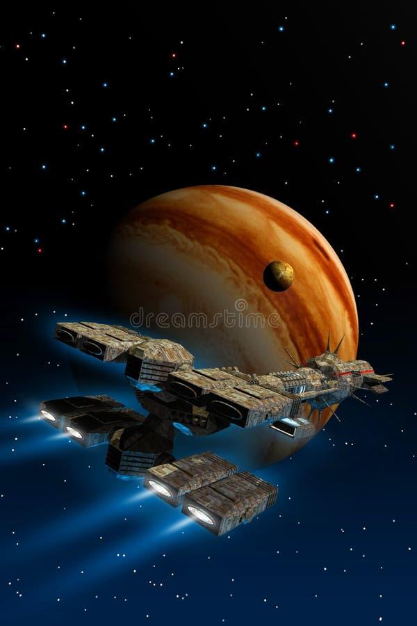 Un vuelo de la nave espacial del cargo alrededor del planeta Júpiter, ejemplo 3d stock de ilustración