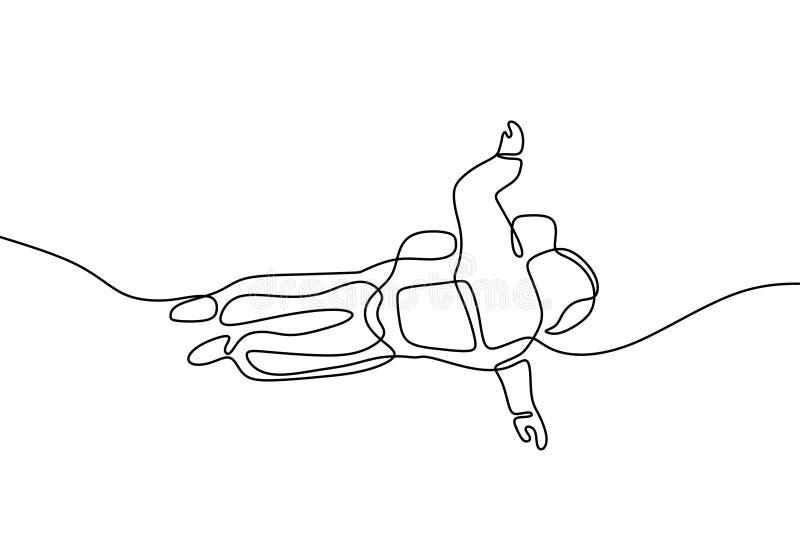 Un vuelo del astronauta del dibujo lineal en el diseño del minimalismo del espacio aislado en el fondo blanco stock de ilustración