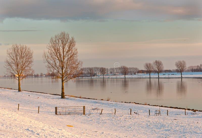 Un waterscape hollandais dans le soleil d'après-midi photo stock