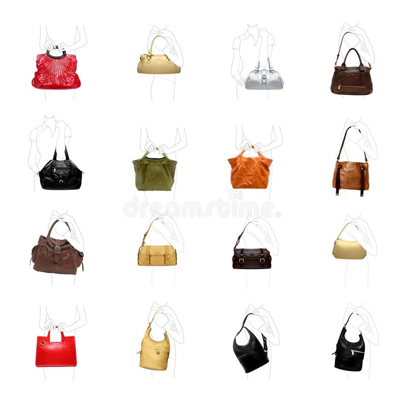 Un woman' bolso de s en una variedad blanca imagen de archivo
