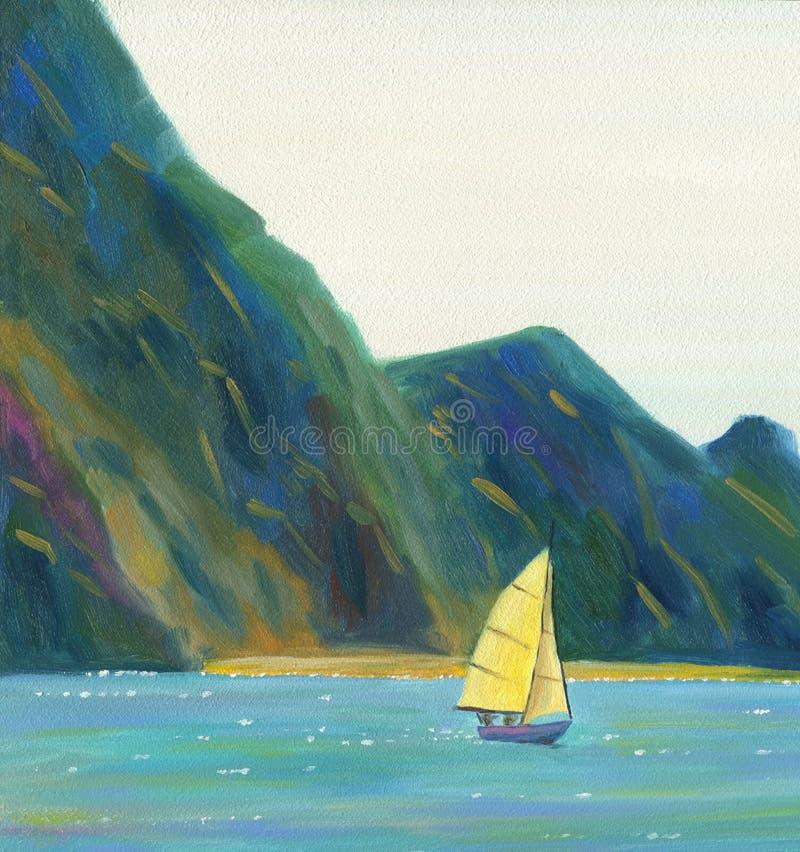 Un yate de la navegación que flota en el mar libre illustration
