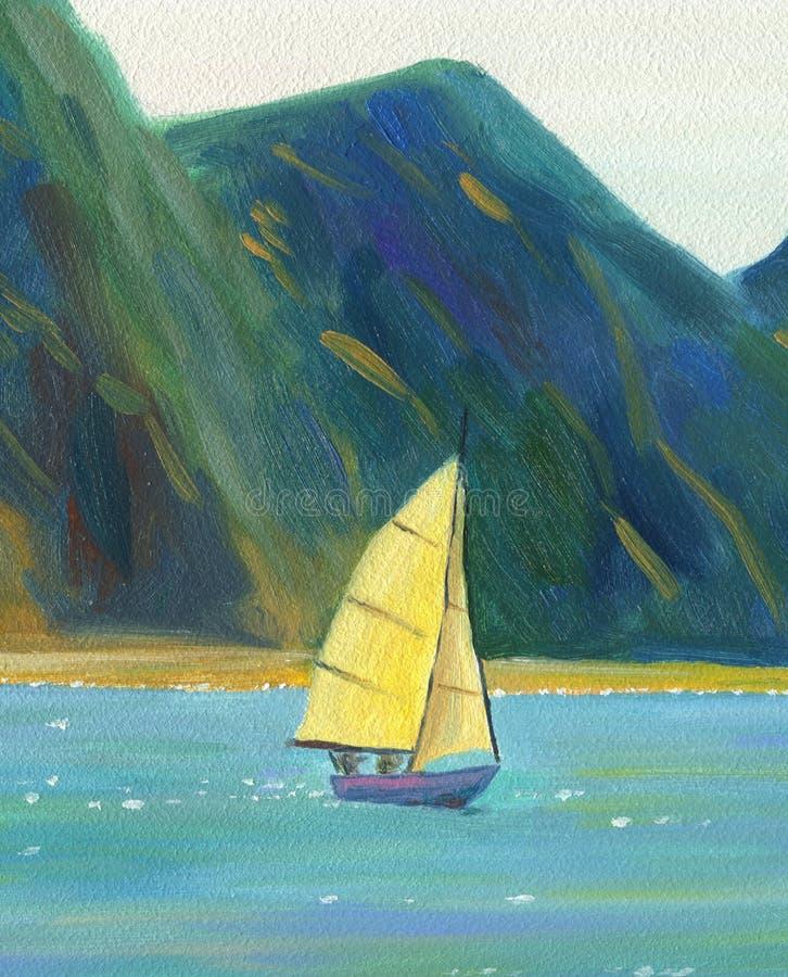 Un yate de la navegación que flota en el mar stock de ilustración