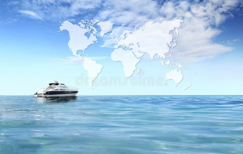 Un yate privado de lujo del motor en el mar tropical con la sol de las nubes del cielo azul, mapa internacional en espacio vacío  foto de archivo libre de regalías