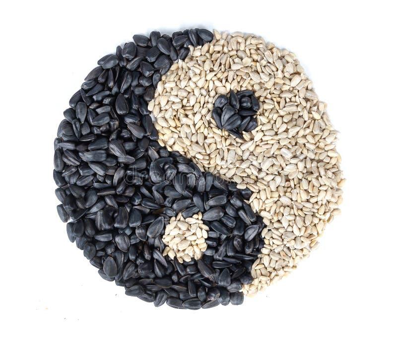 Un yin y un símbolo de yang hecho de las semillas de girasol en el backgound blanco imagenes de archivo