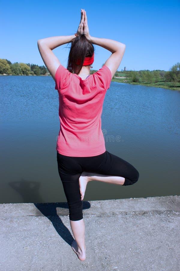 Un yoga de pratique de fille sur le rivage d'un lac images libres de droits