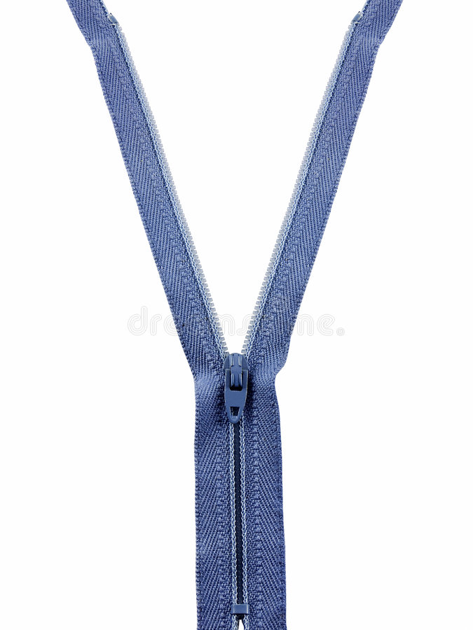 Un-Zip. Zipper partially un-zipped and isolated on white stock photography