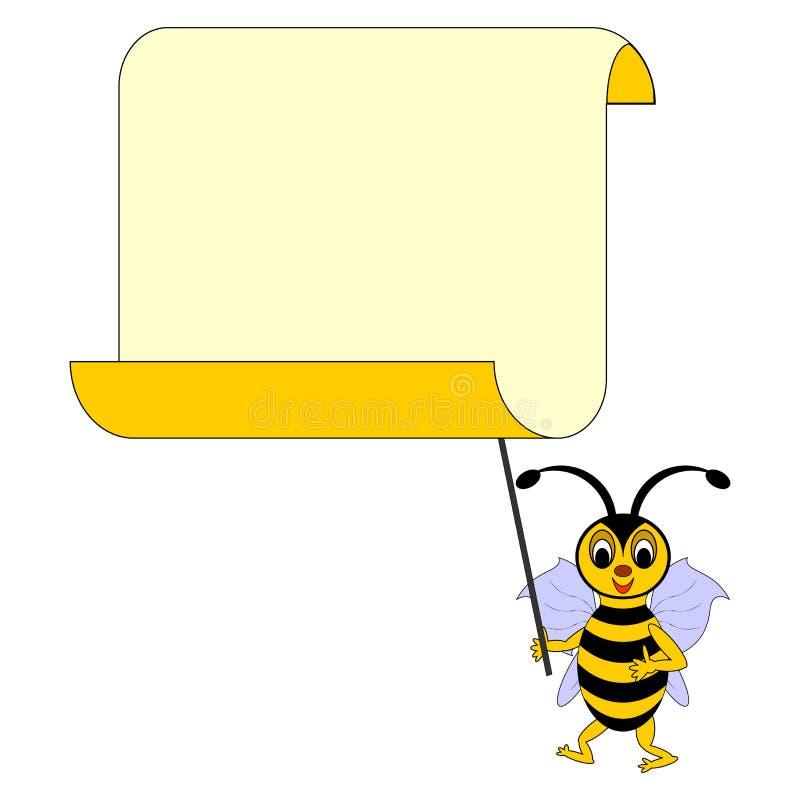 Una abeja divertida de la historieta con un papel en blanco grande stock de ilustración