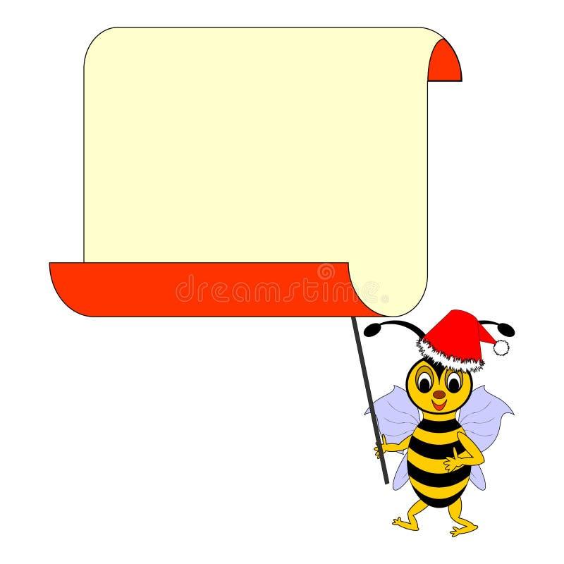 Una abeja divertida de la historieta de la Navidad con un espacio en blanco grande pap ilustración del vector