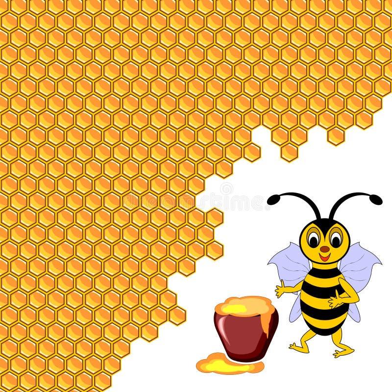 Una abeja linda de la historieta con un pote de la miel rodeado cerca  stock de ilustración