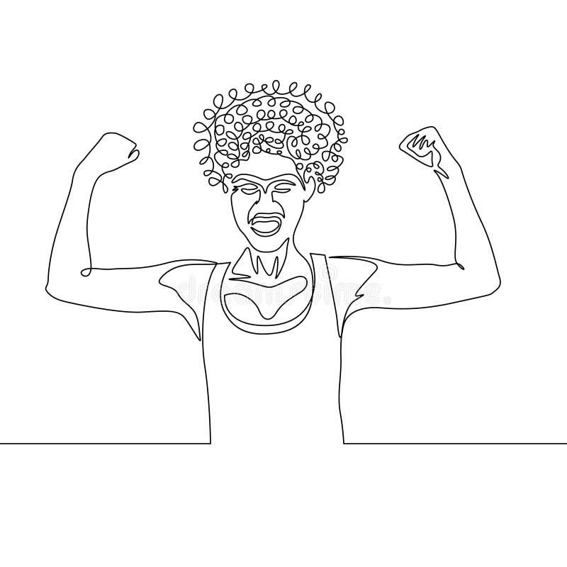Una actitud rizada continua del poder de la muchacha del dibujo lineal stock de ilustración