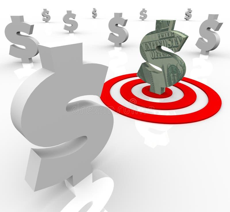Una actividades bancarias financieras apuntadas de la muestra de dólar stock de ilustración