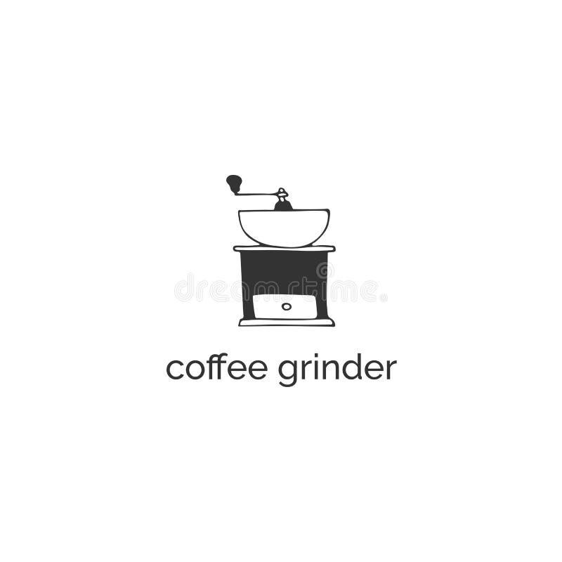 Una amoladora de caf? Objeto dibujado mano del vector Plantilla del logotipo de la cocina ilustración del vector