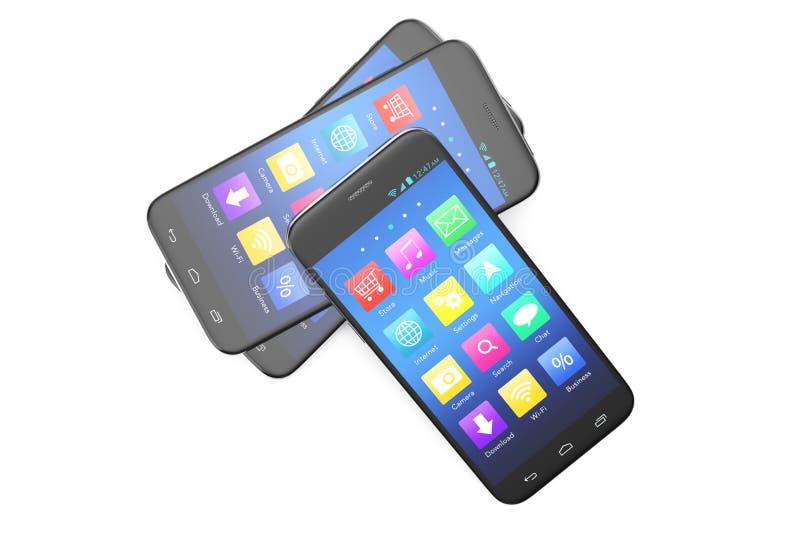 Una anchura de plata del teléfono una pantalla azul e iconos, aislados en el fondo blanco, ejemplo 3d ilustración del vector