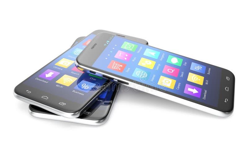 Una anchura de plata del teléfono una pantalla azul e iconos, aislados en el fondo blanco, ejemplo 3d stock de ilustración