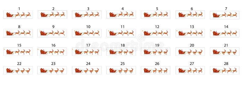 Una animación de Santa Claus que monta un trineo en reno stock de ilustración