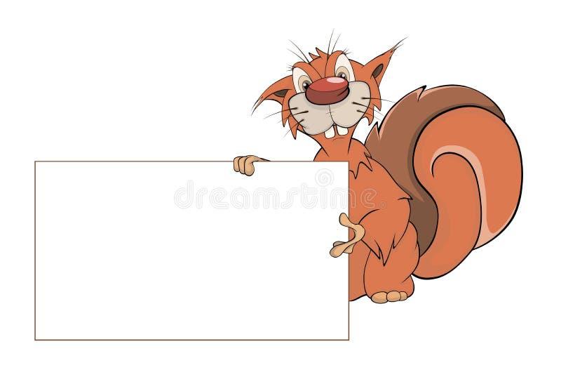 Una ardilla con una historieta en blanco vacía stock de ilustración