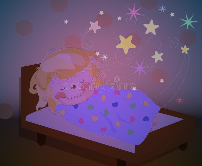Una bambina che dorme e che sogna illustrazione di stock