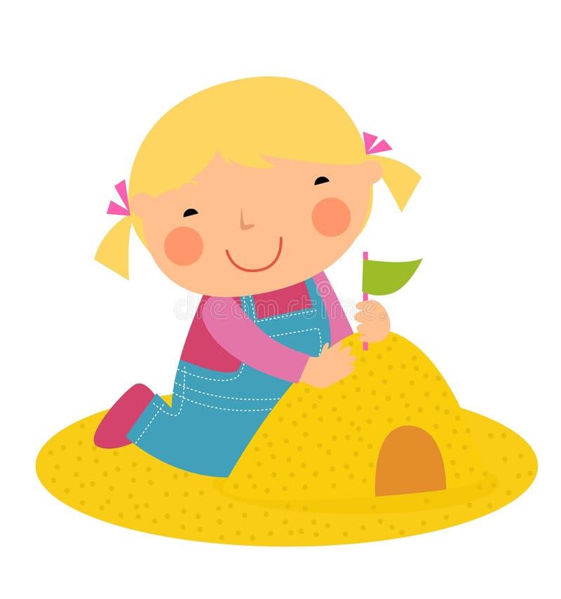 Una bambina che gioca in sabbia illustrazione di stock