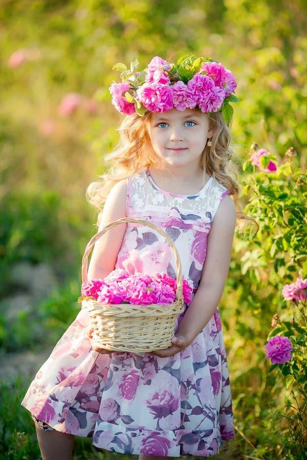 Una bambina con bei capelli biondi lunghi, vestiti in un vestito leggero ed in una corona dei fiori reali sulla sua testa, in immagini stock