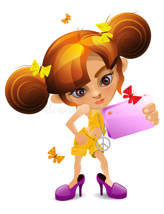 Una bambina del fumetto con una macchina fotografica che veste le scarpe della madre illustrazione di stock