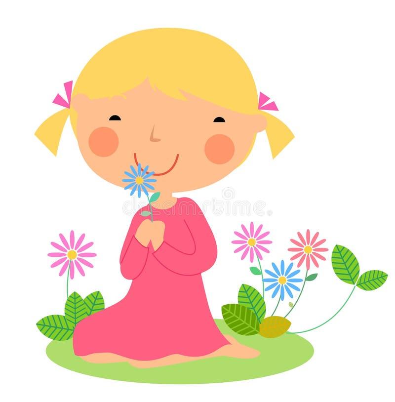 Una bambina e un fiore svegli illustrazione di stock