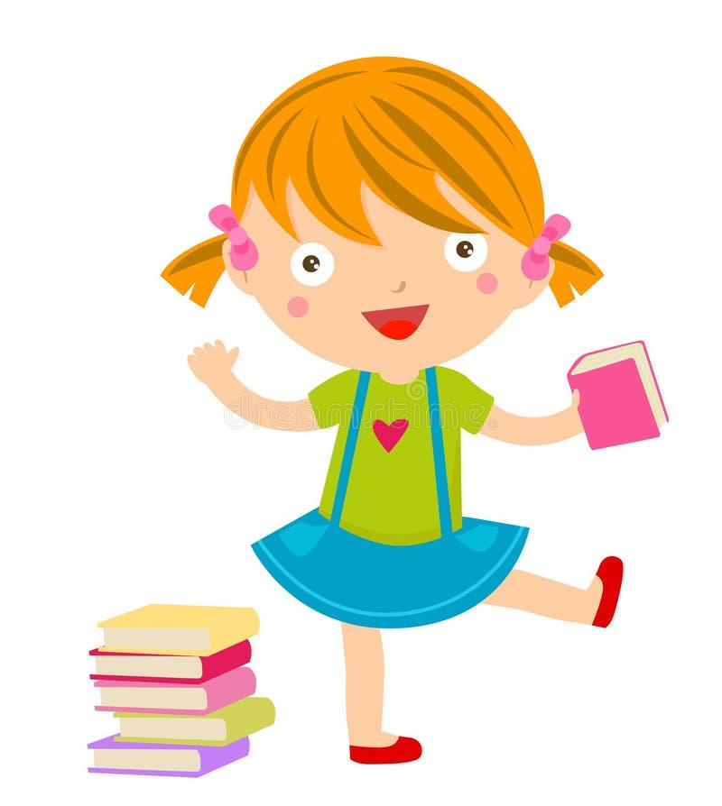 Una bambina e un libro svegli illustrazione vettoriale