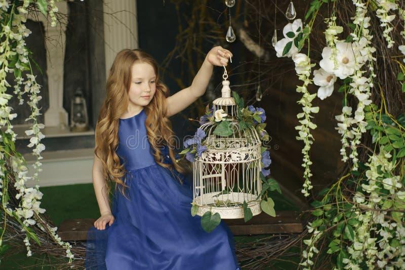 Una bambina sta sedendosi nel legno con le ali leggiadramente della scintilla che esaminano un birdcage magico per un'immaginazio fotografia stock libera da diritti