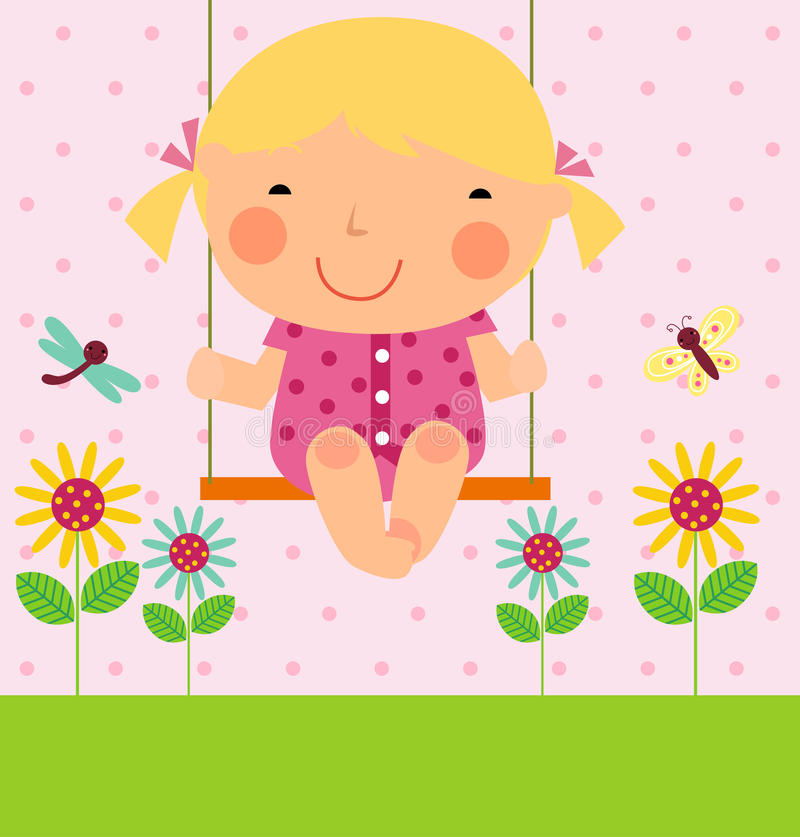 Una bambina su oscillazione royalty illustrazione gratis
