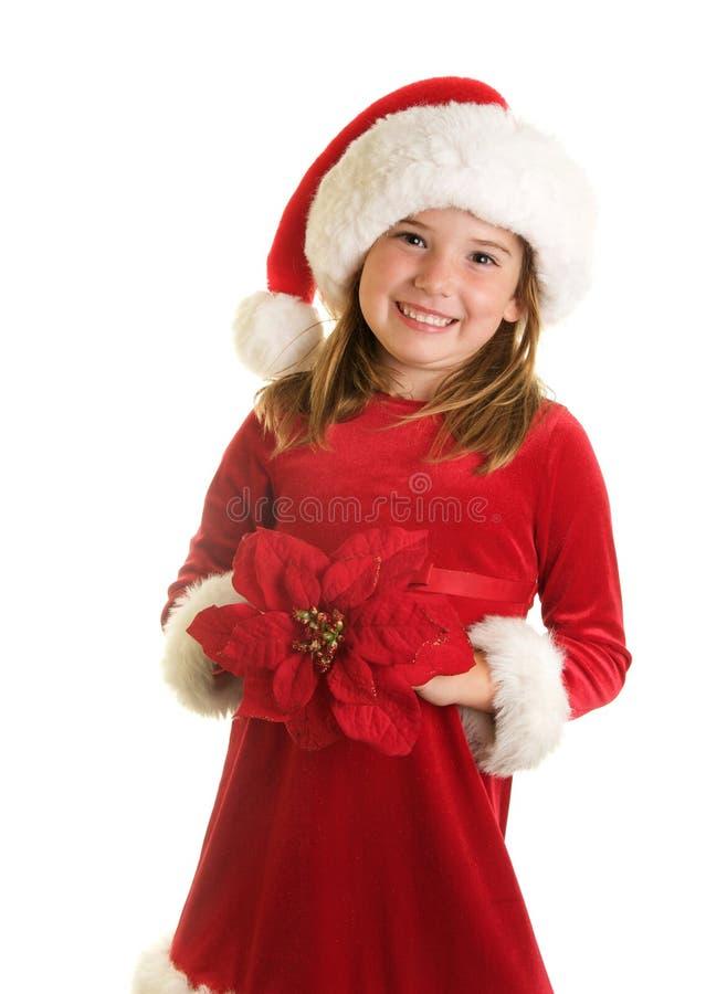 Una bambina sveglia in Santa Claus Hat ed in un grande fiore della stella di Natale immagine stock