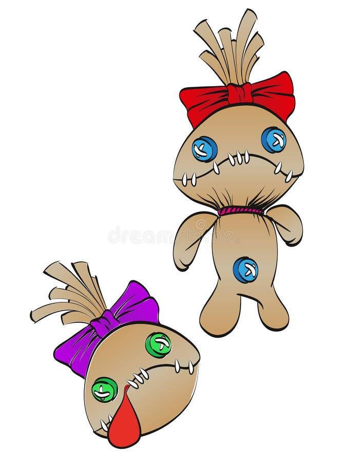 Una bambola di straccio triste con un arco sulla sua testa royalty illustrazione gratis