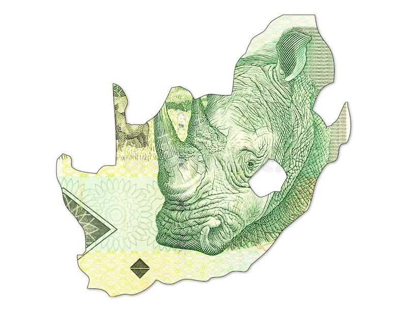 una banconota da 10 Rand sudafricani nella forma della Sudafrica fotografia stock libera da diritti