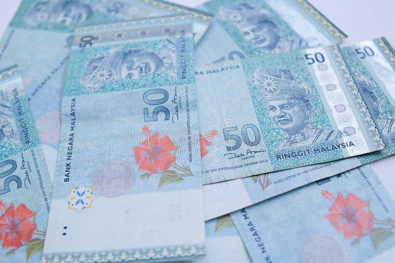una banconota da 50 ringgit Il ringgit ? la valuta nazionale della Malesia fotografie stock libere da diritti