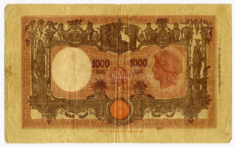 Una banconota dalle 1000 Lire immagini stock libere da diritti